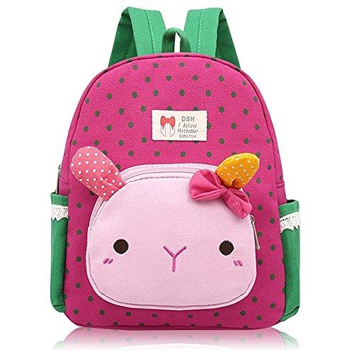 Suerico Cute Rabbit Toddler Backpacks Kids School Bags Children Preschool Lunch Bags Rose Red