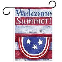 庭の装飾の屋外の印の庭の旗の飾り歓迎夏愛国心星の縞模様 テラスの鉢植えのデッキのため