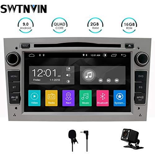 SWTNVIN Android 10.0 Auto Audio Stereo Kopfeinheit passt für Opel Vauxhall DVD Player Radio 7 Zoll HD Touchscreen GPS Navigation mit Bluetooth WiFi Lenkradsteuerung 2GB + 16GB (Grau)