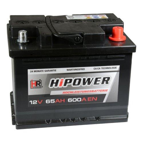 Preisvergleich Produktbild HR HiPower Autobatterie 12V 65Ah 600A / EN Starterbatterie ersetzt 55Ah 60Ah 62Ah 63Ah