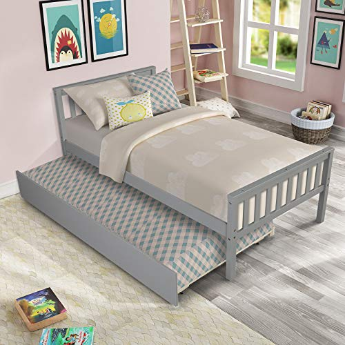 Twin Platform Bed with Trundle, Solid Wood Bed Frame with Headboard, Footboard for Teens Boys Girls,No Box Spring Needed (Grey)