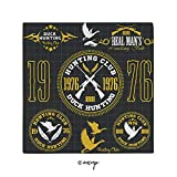Homenon Decorative Napkins, Vintage Club Emblem from 1976 Hobby of Duck Hunting Themed Square Printed Party & Dinner Napkin, 20' x 20', MulticolorPack of 1
