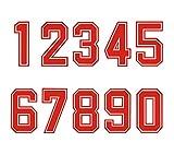 Números para planchar por transferencia de calor en camisetas deportivas, rojos