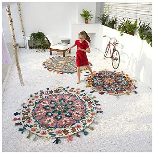 Wollteppich im Ethno-Stil, handgewebter Teppich, Quaste, runder Teppich für Kinderzimmer (Color : A, Size : 90CM)