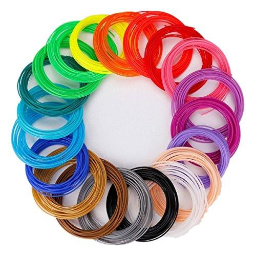 JZK 20 Pz ,10m / pz, 1.75mm ABS Filamento filamenti per penna 3D / stampante 3D, 20 colori - Nero, bianco, grigio, rosso, rosa, viola, blu, verde, giallo, oro, arancio, argento, marrone, nudo, trasparente, fluo verde, fluo blu, fluo arancio, fluo rosso, fluo giallo
