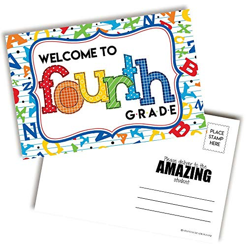 Welcome To 4th Grade Alphabet Themed Blank Postcards For Teachers To Send To Students, 4