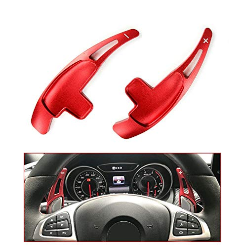 NAWQK Red Aluminum Alloy Paddle Shifter Erweiterung fit for Mercedes Benz A45 GLA45 C63 E63 GLA-Auto-Lenkrad-Schaltpaddles