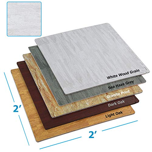 "Clevr 100 Sq. Ft (10' x 10') EVA Interlocking Foam Mats Flooring, White Wood Grain Style - (24"" x 24"", 25 pcs) 
