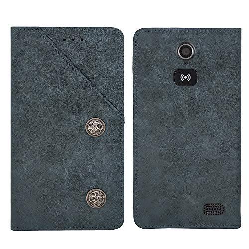 TienJueShi Blau Flip Brief Tasche Hülle Schütz Hülle Doro 8031 8030 4.5 inch Echt Leder TPU Silikon Stand Handy Abdeckung Premium Wallet Cover Etui