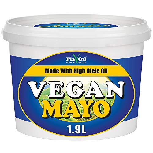 Mayonesa vegana FlavOil | Mayonesa sin huevo elaborada con aceite puro de girasol | Apto para dietas Keto | Sin gluten ni lácteos | Gran sabor (1.9 Litro)
