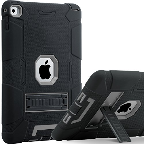 BENTOBEN Shockproof Case for iPad Air 2, iPad Air 2 Case Kids, Three Layer Hybrid Hard PC Soft TPU Bumper Full Body Protective Heavy Duty Kickstand Silicone Case Cover for iPad Air 2 - Black/Gray