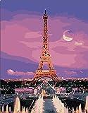 JXMK Color por número Sin Marco la Vista de la Ciudad Pintura al óleo Colorida de DIY de la Pintada Abstracta Set de Pintura al óleo de Regalo 40x50cm