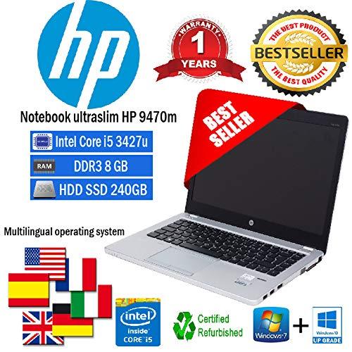 NOTEBOOK RICONDIZIONATO ULTRASLIM HP FOLIO 9470M INTEL CORE I5 3427U 1.80GHZ/8GB/SSD 240GB/WEB/WIN 10 PRO (Ricondizionato) )