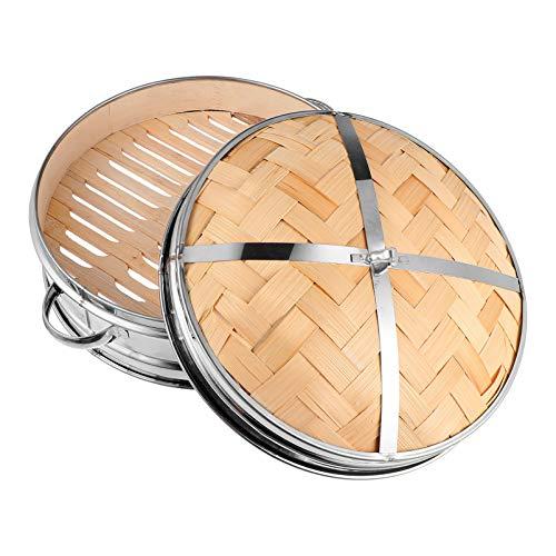 Hemoton Cestello di bambù Tradizionale a Vapore con Coperchio Pentola per Alimenti Cestello per Verdure Gnocchi di Carne Dim Sum 20Cm