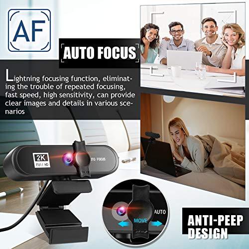 Webcam mit Mikrofon,Full HD 2K Streaming Webcam für PC,Laptop,Mac,Plug-and-Play,Webkamera mit Stativ Abdeckung,Webcam USB mit Autofokus und Weitwinkel für YouTube,Skype Videoanrufe,Konferenz,Spielen