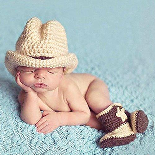 TININNA Neonato Ragazza del Neonato Fotografia Props Lavorato a maglia Crochet Cappello del cowboy Stivali Fotografia Costume(Grigio)