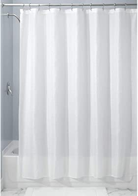 """mDesign Extra Long Light Weight Waffle Weave Polyester Shower Curtain with Reinforced Buttonholes, for Bathroom Showers and Bathtubs - Elegant Woven Geometric Square - 72"""" x 96"""" - 2 Pack - White"""