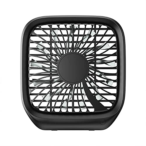 wangYUEQ Small Desk Fan, 2000mAh Rechargeable Battery Portable Fans,with 4 Speeds, 180deg; Foldable, USB Charging Port, Personal Table Fan for Office Outdoor Home (Color Name : White) (Size : Black)