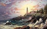 YYW Rompecabezas de Madera clásico Thomas Kinkade Coast Lighthouse House Juego Educativo Familiar (29,5 x 19,7 Pulgadas)