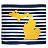 Twig & Bale Ann Arbor Michigan Baby Blanket Organic Cotton Muslin Swaddle Blanket - 47' x 43' - Fans of Michigan Baby Gift for Boys Girls Receiving Blankets