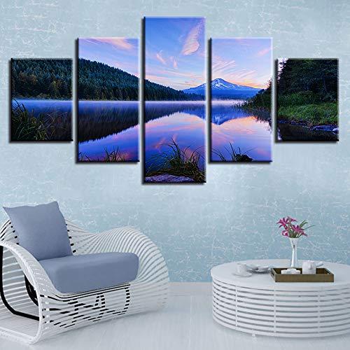 Prints Op Doek Huis Decor Woonkamer Muur Art 5 Stuks Hd afdrukken Berg Meer Natuurlijke Landschap Canvas Foto Modulaire Frame Schilderijen Post L-30x40 30x60 30x80cm Frame