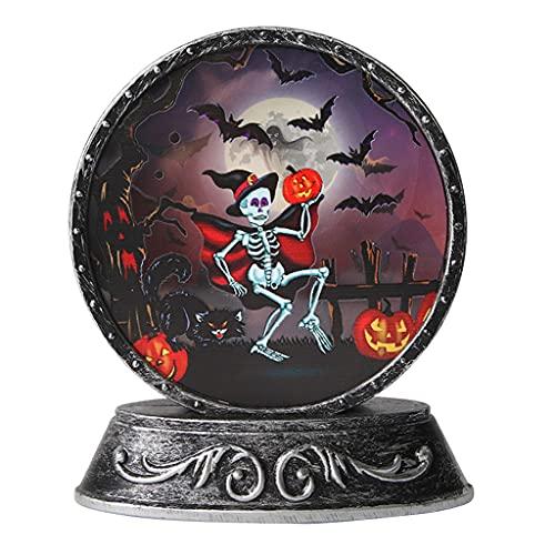 Unknows Decorazione di Halloween per feste, Retro Craft Copper Mirror Elettronico Candeliere, Halloween Scheletro Zucca Gatto Nero Led Lampada di Rame Puntelli