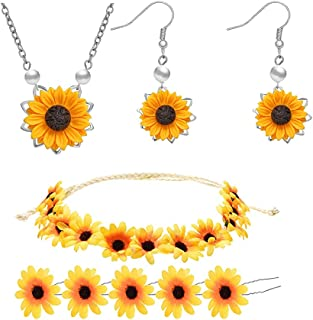 Picano 8 Pieces Sunflower Pendant Necklace Sunflower Drop Earrings Sunflower Hair Clip Sunflower Boho Headband Wreath for ...