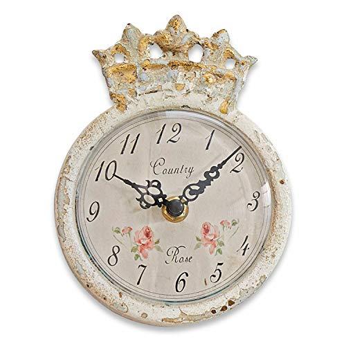 Loberon Uhr Rhon, Eisen, Kunststoff, H/B/T/Ø ca. 15.5/12 / 4.5/12 cm, antikcreme