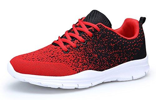 DAFENP Unisex Uomo Donna Scarpe da Ginnastica Corsa Sportive Fitness Running Sneakers Basse Interior Casual all'Aperto (40 EU, rossonero)