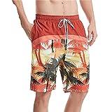 Hombre Cortos Playa - Troncos De Natación De Secado Rápido De Verano con Estampado De Árboles Tropicales Y Pantalones Cortos De Surf Informales con Cordón Ajustable para Fiestas Navideñ