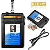 ELV Badge Holder with Zipper, PU Leather ID Badge Card Holder Wallet with 5 Card Slots, 1 Side…