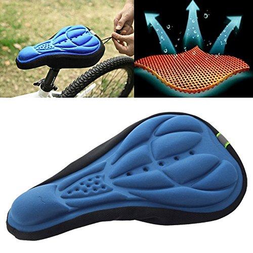 Eje de pedalier de bicicleta Funda de sillín de asiento de bicicleta de silicona Lycra y almohadilla de gel de silicona 3D, Se adapta a los cojines suaves para los tipos de bicicletas ( Color : Blue )