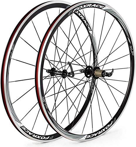 Juego de ruedas 700C para bicicleta de carretera Rueda de bicicleta Llanta de aleación de doble pared Freno de llanta de 23 mm con liberación rápida Ruedas delanteras y traseras de bicicleta de 7-11