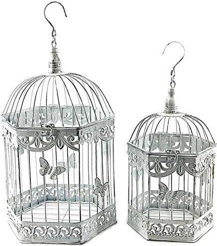 Bellaa 23585 Beautiful Metal Octagon Shape Bird Cage Set of 2 Antique product image