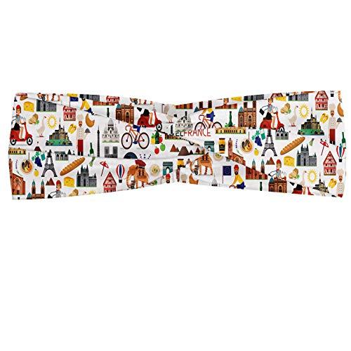 ABAKUHAUS Notre Dame in Parijs Hoofdband, Travel Map, Elastische en Zachte Bandana voor Dames, voor Sport en Dagelijks Gebruik, Veelkleurig