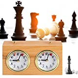Wooden Mechanical Chess Timer Clock- High Precision Master Tournament Analog Chess Clock Timer with Instruction Portable Countdown Clock Board Game Timing Tool for International Chess Competitions