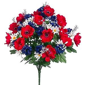 19″ Silk Anemone & Cornflower Flower Bush -Red/Royal (Pack of 12)