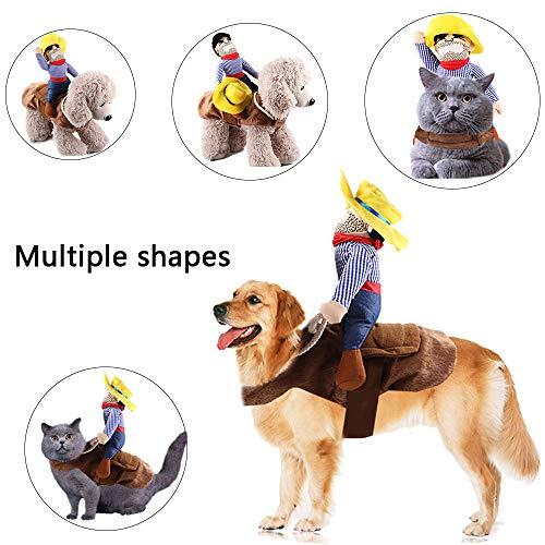 Kungfu Mall 1 STÜCK Hundekostüm Haustieranzug Cowboy Reiter Stil Pet Riding Transfiguration für Party(M)