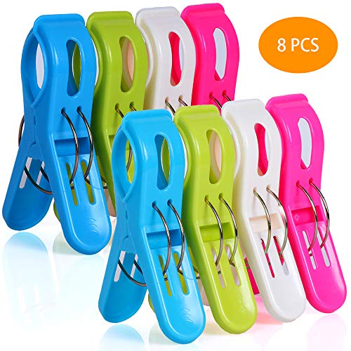 Beach Towel Clips for Pool Chairs, McoMce Plastic Beach Chair Clips, Towel Clips for Beach Chairs Cruise, Fashion Bright Color Pool Chair Clips, 8 Pieces Oversized Beach Towel Clips