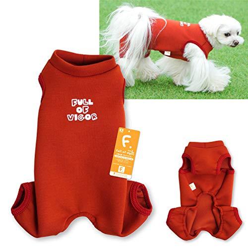 犬猫の服 full of vigor_ロゴプリントダンボールニットつなぎ_3/レッド_DL_小型犬・ダックス用