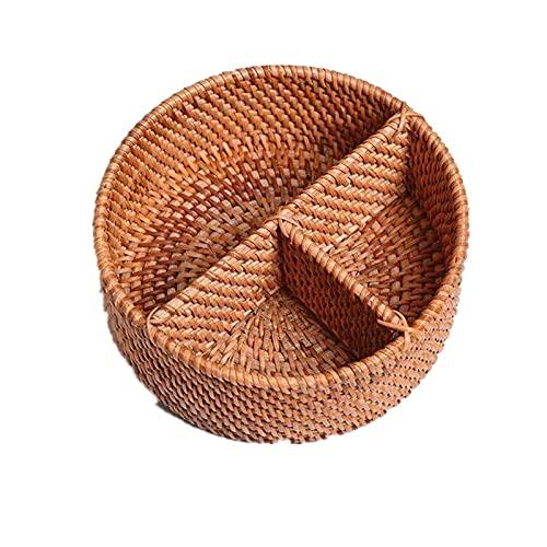 AIRUYI Rattan Woven Cesta de Escritorio Sala de Estar Tres Compartimiento Almacenamiento Pequeño Círculo Separado Fruta Bandeja Muebles Creativos Accesorios (Color : 20X8cm)