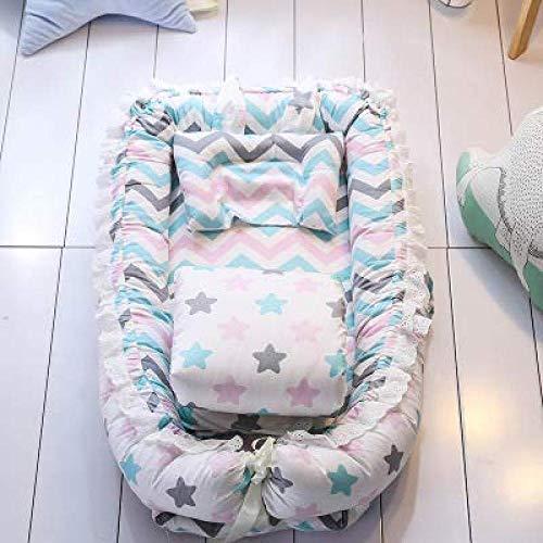 Ann Juegos De Cunas para Bebés con Edredón Almohada Algodón Puro Nido De Bebé Cuna De Viaje Cuna Cuna para Recién Nacidos Lavable Portátil,B