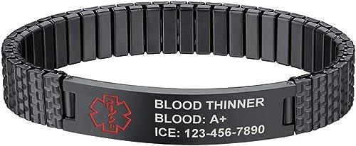 Supcare Bracelet médical Symbole d'urgence Personnaliser Gratuit Bracelet Adjustable Bijoux Non allergène Cadeau d'an...
