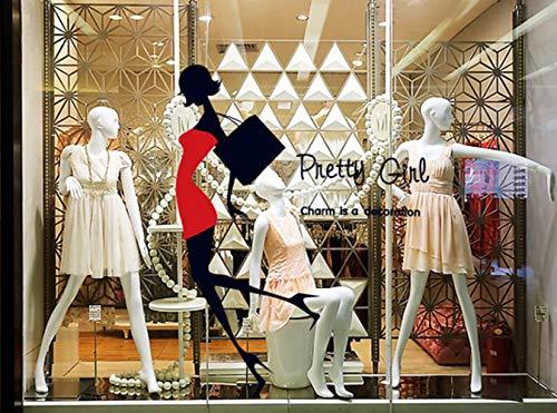 QTXINGMU Muurstickers Dames Mini Rokken Hoge Hakken Muurstickers Winkelcentra Dames Schoenen Tellers Venster Glas Stickers