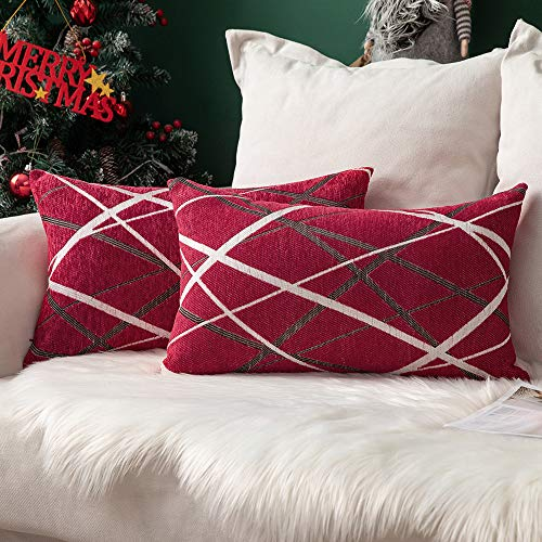 MIULEE Christmas Cushion Covers Chocolate Ice Cream Line Decorative Square Pillowcases for Couch Livingroom Sofa Bed with Invisible Zipper 30cm x 50cm 12x20 Inches 2 Pieces Red