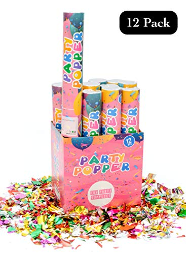 TUR Party Supplies 12 Piece Confetti Cannon Party Poppers (12 Inch) in Decorated Box Authentic Giant Confetti Cannons for Parties, Birthdays, Weddings, and More - Safe and Fun for Family and Friends