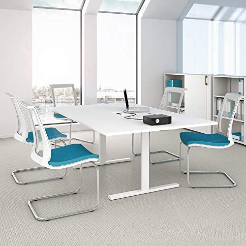 WeberBÜRO Easy Konferenztisch 200x120 cm Weiß mit ELEKTRIFIZIERUNG Besprechungstisch Tisch