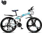 SHUI Bicicleta Plegable, Bicicleta de montaña de 27 velocidades, Ruedas Dual suspensión Doble Bicicleta Plegable 26 Pulgadas, Marco de Acero 14