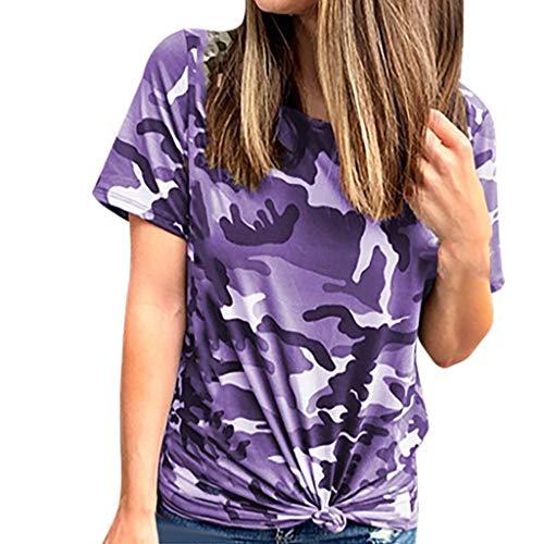 Momoxi Damen 2020 Sommer Tarnungs Druck Kurzschluss Hülsen Oberseiten Sommer Casual Crewneck Tunika Hemd Camouflage Top Tank T-Shirt Violett S