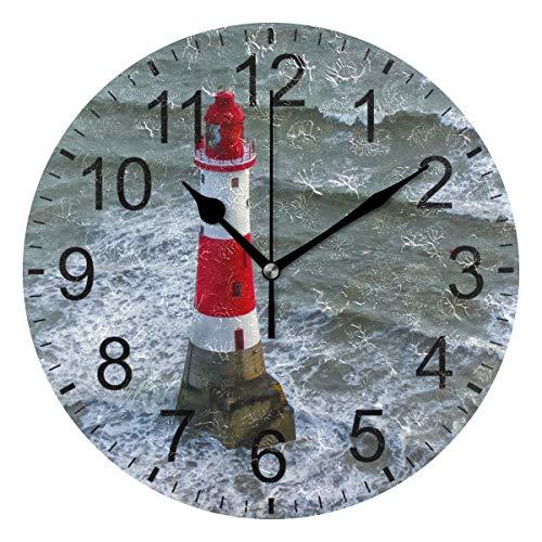 SENNSEE Ocean Leuchtturm-Wanduhr, dekorativ, Wohnzimmer, Schlafzimmer, Küche, batteriebetrieben, runde Uhr für Home Decor Art